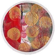 Golden Circles On Red And Green Round Beach Towel