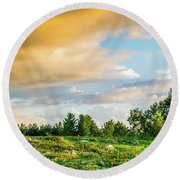 Golden Clouds Round Beach Towel