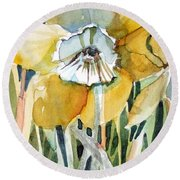 Golden Daffodil Round Beach Towel by Mindy Newman