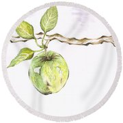Golden Delishous Apple Round Beach Towel by Teresa White