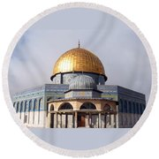 Golden Dome Of Rock Round Beach Towel by Munir Alawi