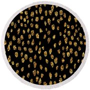 Golden Dots Round Beach Towel