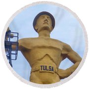 Round Beach Towel featuring the photograph Golden Driller 76 Feet Tall by Janette Boyd