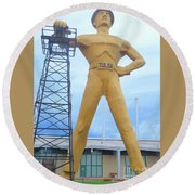 Round Beach Towel featuring the photograph Golden Driller Tulsa Oklahoma by Janette Boyd