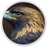 Golden Eagle 2 Round Beach Towel