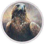Round Beach Towel featuring the painting Golden Eagle Portrait by Alan M Hunt