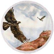 Golden Eagles In Fligh Round Beach Towel