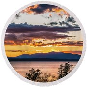 Golden Equinox Round Beach Towel