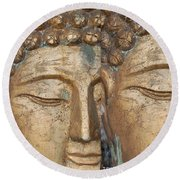Golden Faces Of Buddha Round Beach Towel
