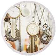 Golden Faces Of Time Round Beach Towel