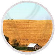 Round Beach Towel featuring the photograph Golden Field  by Yumi Johnson