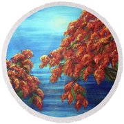 Golden Flame Tree Round Beach Towel