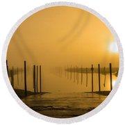 Golden Fog On The Nissequogue Round Beach Towel