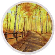Golden Forest Round Beach Towel