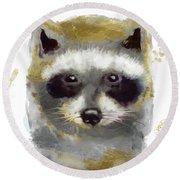 Golden Forest Raccoon  Round Beach Towel