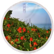Round Beach Towel featuring the photograph Golden Gate Blooms by Darren White