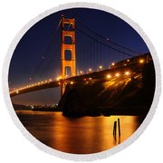 Golden Gate Bridge 1 Round Beach Towel by Vivian Christopher