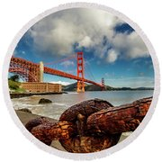 Round Beach Towel featuring the photograph Golden Gate Bridge And Ft Point by Bill Gallagher