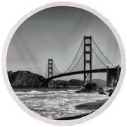 Golden Gate Bridge Black And White Round Beach Towel by Peter Dang