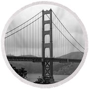 Golden Gate Bridge- Black And White Photography By Linda Woods Round Beach Towel