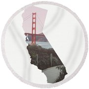 Round Beach Towel featuring the mixed media Golden Gate Bridge California- Art By Linda Woods by Linda Woods
