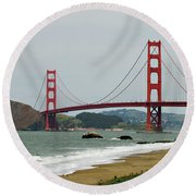 Golden Gate Bridge From Baker Beach Round Beach Towel