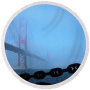 Golden Gate Bridge From Fort Point Round Beach Towel