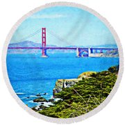 Golden Gate Bridge From The Coastal Trail Round Beach Towel