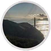 Golden Gate Bridge From The Road Up The Mountain Round Beach Towel