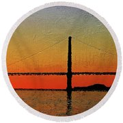 Round Beach Towel featuring the digital art Golden Gate Bridge Panoramic by PixBreak Art