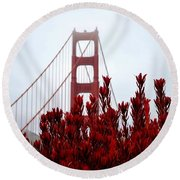 Golden Gate Bridge Red Flowers Round Beach Towel