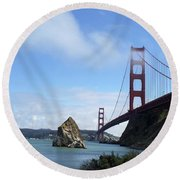 Round Beach Towel featuring the photograph Golden Gate Bridge by Sumoflam Photography
