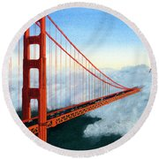 Golden Gate Bridge Sunset Round Beach Towel