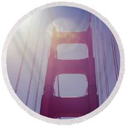 Golden Gate Bridge The Iconic Landmark Of San Francisco Round Beach Towel
