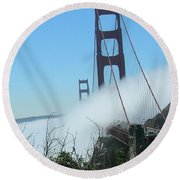 Golden Gate Bridge Towers In The Fog Round Beach Towel
