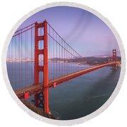 Golden Gate Bridge Twilight Round Beach Towel by JR Photography
