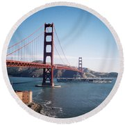 Golden Gate Bridge With Aircraft Carrier Round Beach Towel