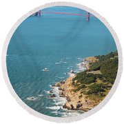 Golden Gate Coast Aloft Round Beach Towel