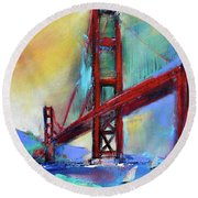 Round Beach Towel featuring the painting Golden Gate Colors by Elise Palmigiani