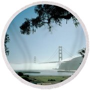 Golden Gate Fog  Round Beach Towel