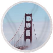 Round Beach Towel featuring the photograph Golden Gate Fogged - 3 by David Bearden