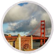 Round Beach Towel featuring the photograph Golden Gate From Above Ft. Point by Bill Gallagher