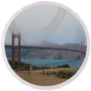 Golden Gate In The Clouds Round Beach Towel
