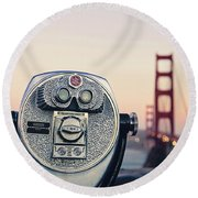 Golden Gate Sunset - San Francisco California Photography Round Beach Towel by Melanie Alexandra Price