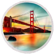 Golden Gateway Round Beach Towel by Az Jackson