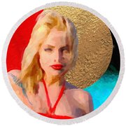 Round Beach Towel featuring the digital art Golden Girl No. 2 by Serge Averbukh