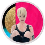 Round Beach Towel featuring the digital art Golden Girl No. 3 by Serge Averbukh