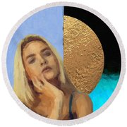 Round Beach Towel featuring the digital art Golden Girl No. 4  by Serge Averbukh