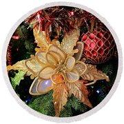 Golden Glitter Christmas Ornaments Round Beach Towel