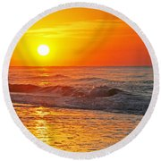 Golden Glory Round Beach Towel
